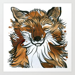 Sleepy Tea Fox Art Print