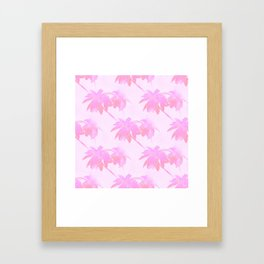 Pink Palm Trees Coastal Pattern Framed Art Print
