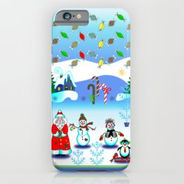 Festive Block Party Clear Skies, Christmas and Holiday Fantasy Collection iPhone Case