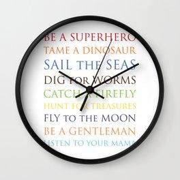 Be A Superhero, rainbow multi-color palette Wall Clock