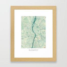 Budapest Map Blue Vintage Framed Art Print