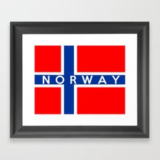 Norway country flag name text Framed Art Print