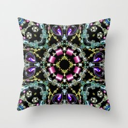 Bling Jewel Kaleidoscope Scanography Throw Pillow