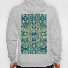 Vintage Blue Turquoise Floral Damask Pattern Hoody