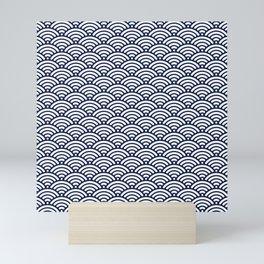 Navy Blue Seigaiha Sea Wave Nautical Minimalist Mini Art Print