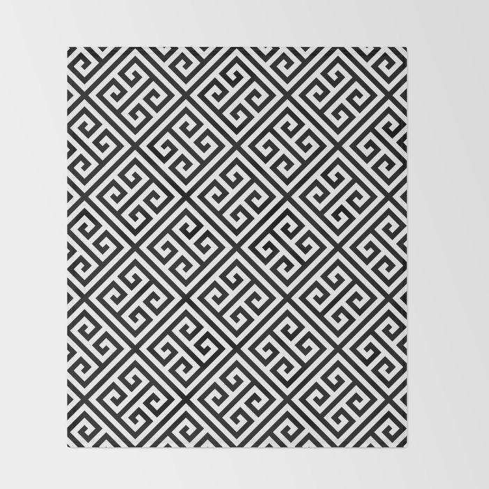 black and white pattern , Greek Key pattern -  Greek fret design Throw Blanket