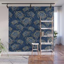 Japanese Pond Turtle / Dark Blue Wall Mural