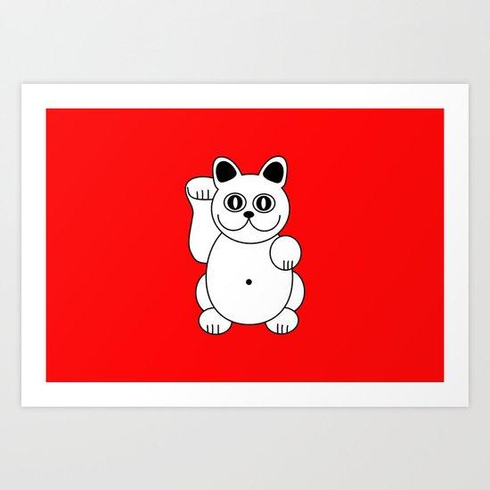 White Cat, Good Luck Cat, Pop Art, Illustration Art Print
