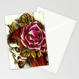 Tattoo Flash grunge....skull rose Stationery Cards