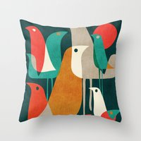 background Throw Pillows featuring Flock of Birds by Picomodi