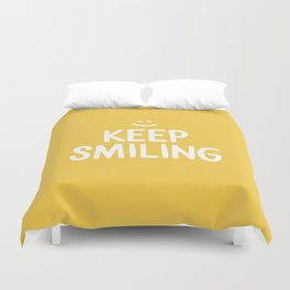 Keep Smiling Quote - Yellow Duvet Cover
