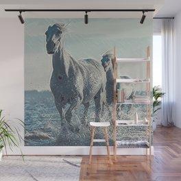 White Horses At The Beach IV Wall Mural