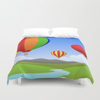 hot air balloons Duvet Covers featuring Hot Air Balloons by Henry Meadowlark