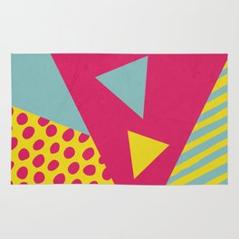 Pink Turquoise Geometric Pattern in Pop Art, Retro, 80s Style Rug