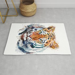Tiger Head watercolor Rug