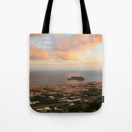 Coastal town in Azores Tote Bag