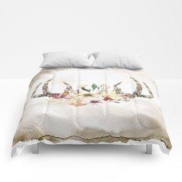 Bohemian antlers flowers #2 Comforters