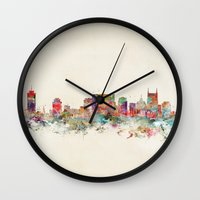 tennessee Wall Clocks featuring city nashville tennessee by bri.buckley