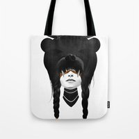 dude Tote Bags featuring Bear Warrior by Ruben Ireland