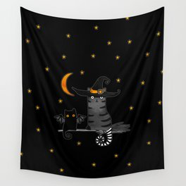 Magic Whitch cat in a hat and her black cat-bat for Halloween Wall Tapestry