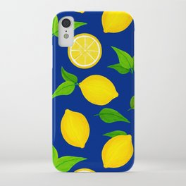 Summer Lemons Pattern - Yellow and Blue Palette iPhone Case