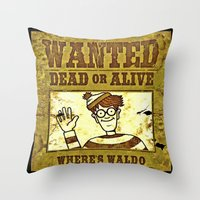 waldo Throw Pillows featuring Where's Waldo Wanted Poster by Silvio Ledbetter