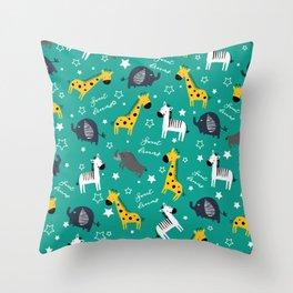 Sweet dreams little one zoo animals cute pattern sea green Throw Pillow