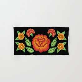 Mexican Folk Pattern – Tehuantepec Huipil flower embroidery Hand & Bath Towel