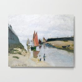 Entrance to the Port of Trouville by Claude Monet , 1870 Metal Print