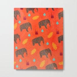 Elephant Origami Metal Print