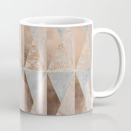 Copper Foil and Blush Rose Gold Marble Triangles Argyle Coffee Mug