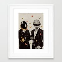 daft punk Framed Art Prints featuring Daft Punk by The White Deer