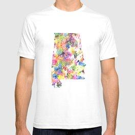 Typographic Alabama - Multi color Watercolor map art T-shirt