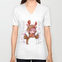 madoka V-neck T-shirts featuring Xmas Madoka Magica by Neo Crystal Tokyo