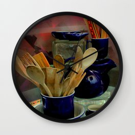 Those Out Of The Kitchen Blues Wall Clock