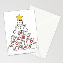 A Very Rona Xmas Funny 2020 Toilet Paper Roll Christmas Tree with Retro Colored Stringer Lights and a Gold Star Topper Stationery Cards