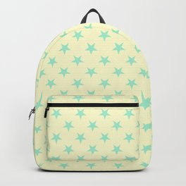 Magic Mint Green on Cream Yellow Stars Backpack