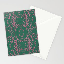 Loveheart Pattern Green/Pink Stationery Cards