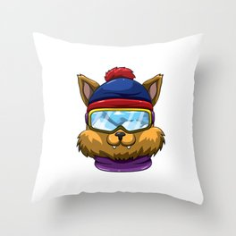 The Meowtains Are Calling Winter Snow Cat Lover Throw Pillow