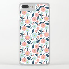 Geometric Trailing Floral Clear iPhone Case