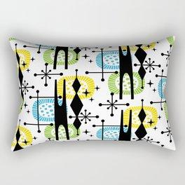 Retro Atomic Mid Century Pattern Yellow Green and Turquoise Rectangular Pillow