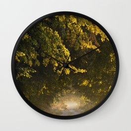 Alley of lime trees in Autumn #2 Wall Clock