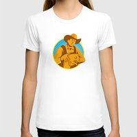 piglet T-shirts featuring Pig Farmer Holding Piglet Front Retro by retrovectors