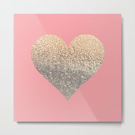 GOLD HEART CORAL Metal Print