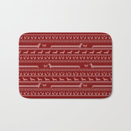 Ugly christmas sweater | Smooth dachshund red Bath Mat