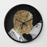 gold Wall Clocks featuring Gold Digging by Eugenia Loli