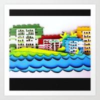 Rainbow Houses Art Print