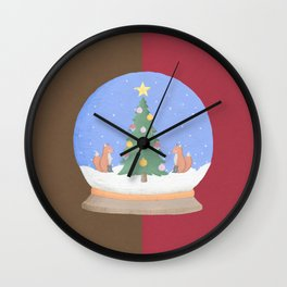Snow Globe Christmas Tree Foxes Wall Clock