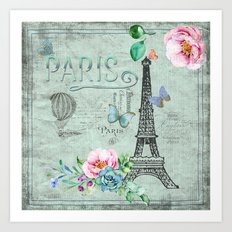 Paris - my love - France Eiffeltower Nostalgy- French Vintage on #Society6 Art Print