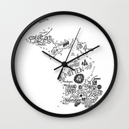 Michigan - Hand Lettered Map Wall Clock